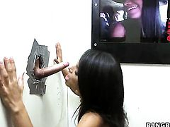 Glory hole blowjob movies with a brunette