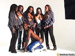 The black man is on his knees before the girl