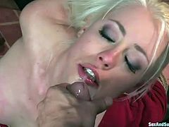 Tied up blonde Lorelei Lee is tied up and fucked in her mouth hole