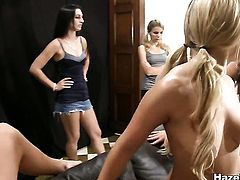 This weeks submission is intense and these bitches arent fucking around. I mean talk about degrading your pledges calling them names and sticking foreign objects in their vajays. but then again it wouldnt be hazing if they didnt right so more power to you ladies. The girls had to go through a thorough inspection. tits ass and pussy had to pass certain requirements to be eligible to be called a sister.  but that wasnt all, these girls had to prove to their superiors that they could eat some serious pussy. and in our opinion these poor pledges did a great job.