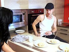 Astonishingly beautiful babe is just dying for her partner's hard cock, even if he fails to prepare her a nice meal. The hot bitch is very friendly with him and you can easily observe her impatience to taste his appetizing dick. See the lusty long-haired brunette playing dirty!