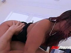 Four eyed super hot brunette Ava Lauren goes wild while riding strong cock