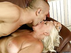 Blonde with giant melons spends time fucking