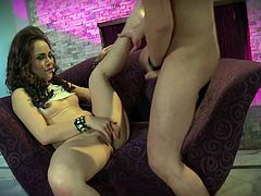 Flirtatious brunette Kristina Rose with natural perky tits takes elegant guys meat pole in her mouth before she takes it in her wet bushy pussy. Nothing can stop him from drilling her tight hole.