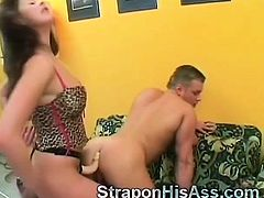 Filthy beauty makes her man moan loudly with backdoor sex