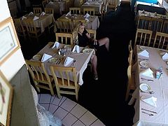 She walks down that restaurant and checks if shes all alone. When she validates that, this lustful blonde slides her hands down her pants and plays with her orgasmic snatch in reality