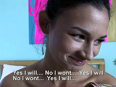 Petite European amateur brunette Keira is ready to do dirty thing in front of the camera for money. She removes her black bra and shows her natural boobs before man sticks his cock in her mouth.