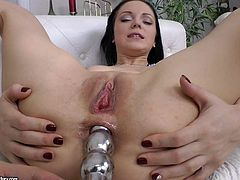 Pretty brunette Lexi Fox with neat shaved pussy gets her asshole filled with dildo before she finds her mouth stuffed. She gives suck jop after ass dildoing, Lexi Fox loves the fun!