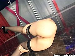 Bootylicious brunette stripper from Japan brags of her ass and flashes cunt