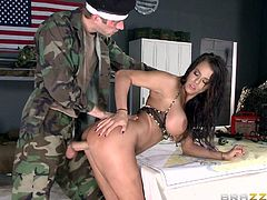Super sexy soldier girl Peta Jensen with big breasts and bubble butt teases Private Danny D with her feet and then takes his big pole in her wet pussy. Well hung guy in uniform bangs hot bodied buxom bitch Peta Jensen from behind.