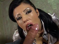 Raven haired Amanda Black in satin blouse makes her eyes full of desire on camera as she gives blow job from first person perspective. Amanda Black loves fat dicks like this one!