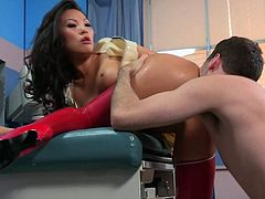 Kinky asian nurse Asa Akira in red latex stockings makes her anal sex fantasies come true with hard dicked patient. He licks her exotic asshole and fucks her mouth deep and hard.