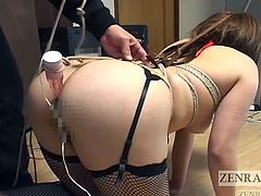 Humiliation of an extreme kind with ample doses of heavy Japanese BDSM as Eizoh Chiba wields a hot wax candle over a curvy woman with nose hooks affixed along with a vibrator in the butt subtitled