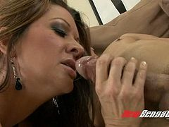 Stunning well shaped black head Racquel Devine jacks off and blows dick