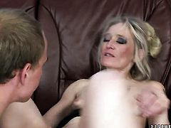 Blonde Angeline is ready to spend hours with dudes ram rod in her mouth