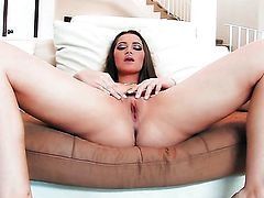 Dani Daniels does striptease before she sticks vibrator in her twat