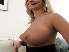 Blonde Jenny Mcclain screams as she fucks herself with sex toy