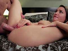 Gabriella Paltrova is sweet young looking brunette who loves hardcore sex. Naturally titted cutie with bubbly butt gives blowjob in the middle of the room and then gets her pink pussy stuffed.