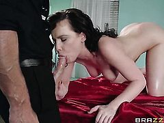 Johnny Sins stretches devilishly sexy Katie St. Ivess love box with his rock hard boner to the point of no return