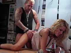 Good looking MILF Jessica Drake with perfect long legs opens her legs and gets her clean shaved pink pussy licked and fucked by horny tattooed guy. He loves blondes tight wet fuck hole!