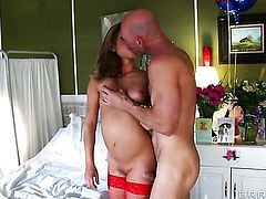 Johnny Sins is horny as hell and cant wait no more to fuck Kennedy Leigh with his stiff dick