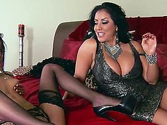 Two really hot chick, kiara mia and veronica are having their pussies smashed by this high quality fucker, while theyre wearing an extremely sexy lingerie that shows how sexy their bodies are
