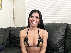 Do you love the passion of Hispanic bitches? Prepare to get seduced by Rebeca's charm and perfectly-shaped body. This hot brunette bitch gets undressed with sensual movements, showing off her wonderful tits and crazy ass. Sucking cock seems to be her special talent!