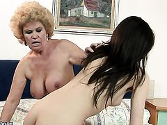 Brunette Effie with big boobs parts her legs and gets her wet spot tongue fucked by Ann Marie La Sante in lesbian action
