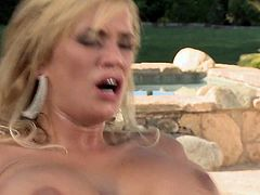 Shyla Stylez is a super sexy big titted blonde MILF who cant get enough. Hot guy drills her neatly trimmed pussy and then she takes it in her asshole. Watch busty mom get anally drilled in the backyard.