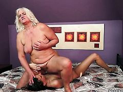 Blonde with gigantic melons loves the way Judi eats her fuck hole