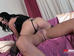 After doggy style fuck charming Nikki Rider jumps on strong hot dick