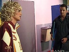 Slutty blonde cheerleader Candi Apple has anal sex with the janitor