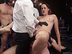 A horny milf gets the most rough sex ever in her life, when some angry masked guys decide to punish her awfully, for being an easy bitch. They make her suck their cocks on her knees and then, the men persuade her to obediently spread legs, and show her cunt. Click to watch slutty Dylan double penetrated!