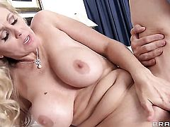 Julia Ann with juicy melons takes Johnny Sinss love stick in her cunt
