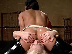 Horny Lea loves spending time in the company of such sexy lesbians as, Nikki and Mia Li. The blonde slut gets her ass penetrated with a kinky dildo, while busty Mia takes care of her peachy cunt. The ladies wear latex outfits, which are a huge turn on. Don't miss the hot details!