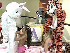 Lupe Fuentes and Sienna Milano are into furies. We see them sucking off two guys dressed as animals. They are really turned on by costumed men as can be seen here.