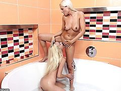 Blonde Jessie Jazz with juicy knockers is good on her way to satisfy her lesbian lover Victoria Puppy