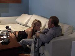 Long legged blond-haired MILF beauty Jessica Drake in sexy high heels is a cock hungry bombshell. She gives great blow job to elegant man. He loves the way this sexy lady blows.