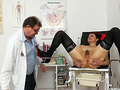 It's time slutty Remy does her usual medical pussy exam... Click to watch the naughty brunette Czech bitch, opening her legs widely in front of the gynecologist. Her tits are saggy, but her cunt looks still appetizing. See her pussy from a delightful crystal clear closeup and enjoy!