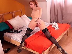 Are you fond of mature bitches? Hurry up and click to enjoy the exciting solo scenes. A redheaded slut with small tits exposes her lusty cunt and appetizing buttocks in front of the camera. See the seductive lady wearing only a pair of kinky stockings masturbating!