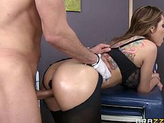 Yurizan Beltran, an exotic brunette sexy milf with a typical sexy body is going to have her tight little rectum inspected before dr Mike shoves his king sized ding dong there