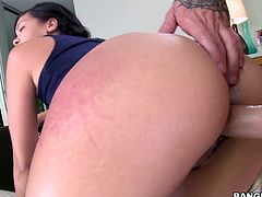 hot slut with an oiled ass rides stiff cock