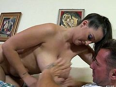 Chunky super sexy and extremely busty brunette is pro in giving titjob