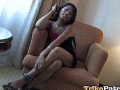 Exotic babe in this video responded warmly to the guy's proposal, to follow him in his room. Click to watch the brunette bitch making herself comfortable. The game of seduction involves letting him guess what's under her white panties... When the slutty lady begins to suck cock, the atmosphere is on fire!