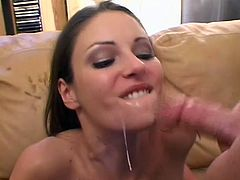 Slim ardent brunette whore Samantha Ryan gets fucked missionary style