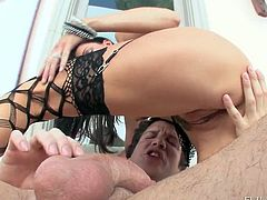 Insatiable anal slut in fishnets gets ass fucked from behind rough