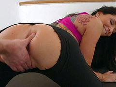 Hot bodied busty brunette Romi Rain in tight fit black leggings bares her big tits and hot ass before she takes his throbbing cock in her eager mouth. Watch them have sex after workout.