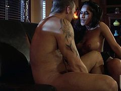Black haired hot sexy babe Jenaveve Jolie with perfect boobs sucks beefy guys hard dick with wild enthusiasm and then gets her wet snatch used. They have a good time banging together.