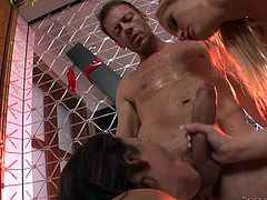 Slutty Vanda seems to have a huge sexual appetite. The flexible blonde-haired babe on high heels is joined by a naughty brunette with small lovely tits. The atmosphere is spiced up by a kinky blowjob and rimming ass only helps to make it hotter! See the lusty bitches banged hard...