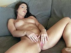 Dark haired naughty girl Serena Blair plays with her firm hot boobs with legs wide open and then takes care of her pink wet snatch. Watch naked sexy chick get pleasure playing alone.